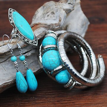 Vintage Turquoise Water Drop Pendant Earrings Ethnic Turquoise Necklace Earring Ring Bracelet Set Jewelry from Jewelry,Watches & Accessories on Banggood.com