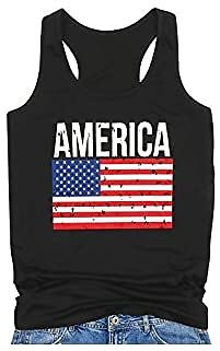 KNEYATTA America Tank Top Womens American Flag Racerback Tanks Top Sleeveless Patriotic Vest Shirt