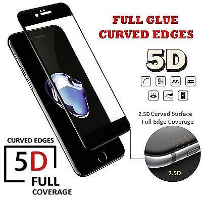 5D Full Glue Coverage Tempered Glass Protector For Apple IPhone 7,iPhone 8 BLACK
