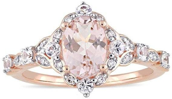 Exclusive - Vintage Morganite White Sapphire and Diamond Ring in 14k Rose Gold By Miadora