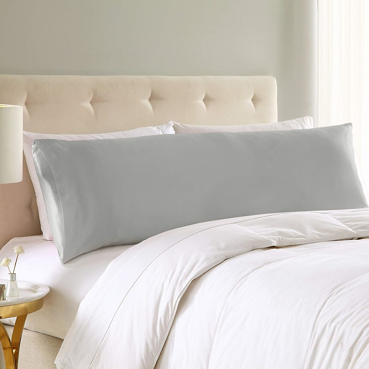 EXQ Home Body Pillow Cover Soft Silver Grey Satin Body Pillow Pillowcase with Envelope Closure Silky Long Pillow Case (20x54 Inches)