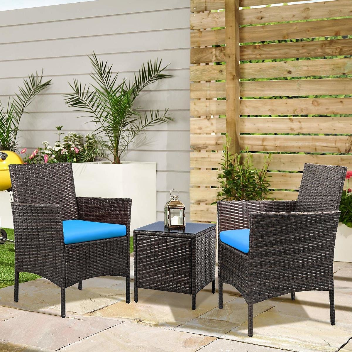 Walnew 3 PCS Outdoor Patio Furniture PE Rattan Wicker Table and Chairs Set Bar Set with Cushioned Tempered Glass (Brown/Blue)