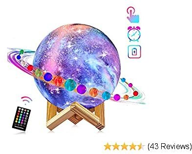 Moon Lamp, LOGROTATE 16 Colors Galaxy Light 3D Printing Starry Moon Night Light with Stand/Remote Control/Touch/USB Rechargeable, Moon Light Lamps for Kids Baby Friends Family Gifts (4.8 Inch)