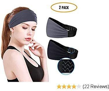Workout Headbands For Women & Men - Non Slip Sweatband,Durable, Breathable With Silicone Grippy Sports Headband For Fitness Running Yoga Cycling Hiking,Performance Stretch & Moisture Wicking - 2 Pack