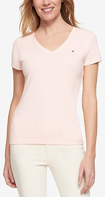 Tommy Hilfiger V-Neck T-Shirt, Created for Macy's & Reviews - Tops - Women