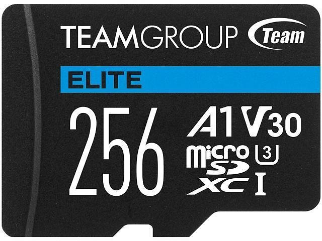 Team 256GB Elite MicroSDXC UHS-I U3, V30, A1, 4K UHD Memory Card with SD Adapter, Speed Up to 90MB/s (TEAUSDX256GIV30A103)