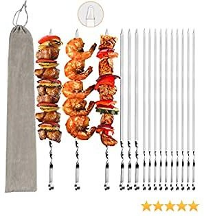 VIBOLA Barbecue Skewers for Grilling Metal Skewers Set Resuable BBQ Skewers, Barbecue, Kitchen, Crafting, Party, Outings Cooking Tools 17'' (16 Pack)