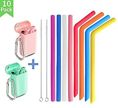 50% OFF! 10 Reusable Collapsible Straws Plus Cleaners and Case