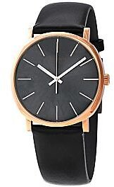 Calvin Klein Men's Posh Leather Dark Grey Dial