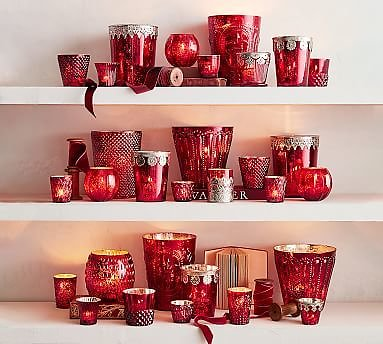 Red Mercury Glass Candle Holders