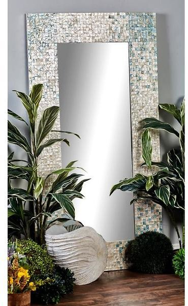Litton Lane 71 In. X 36 In. Rectangular White Door/Wall Mirror with Square White Mussel Shell Tiles Inlay 84417