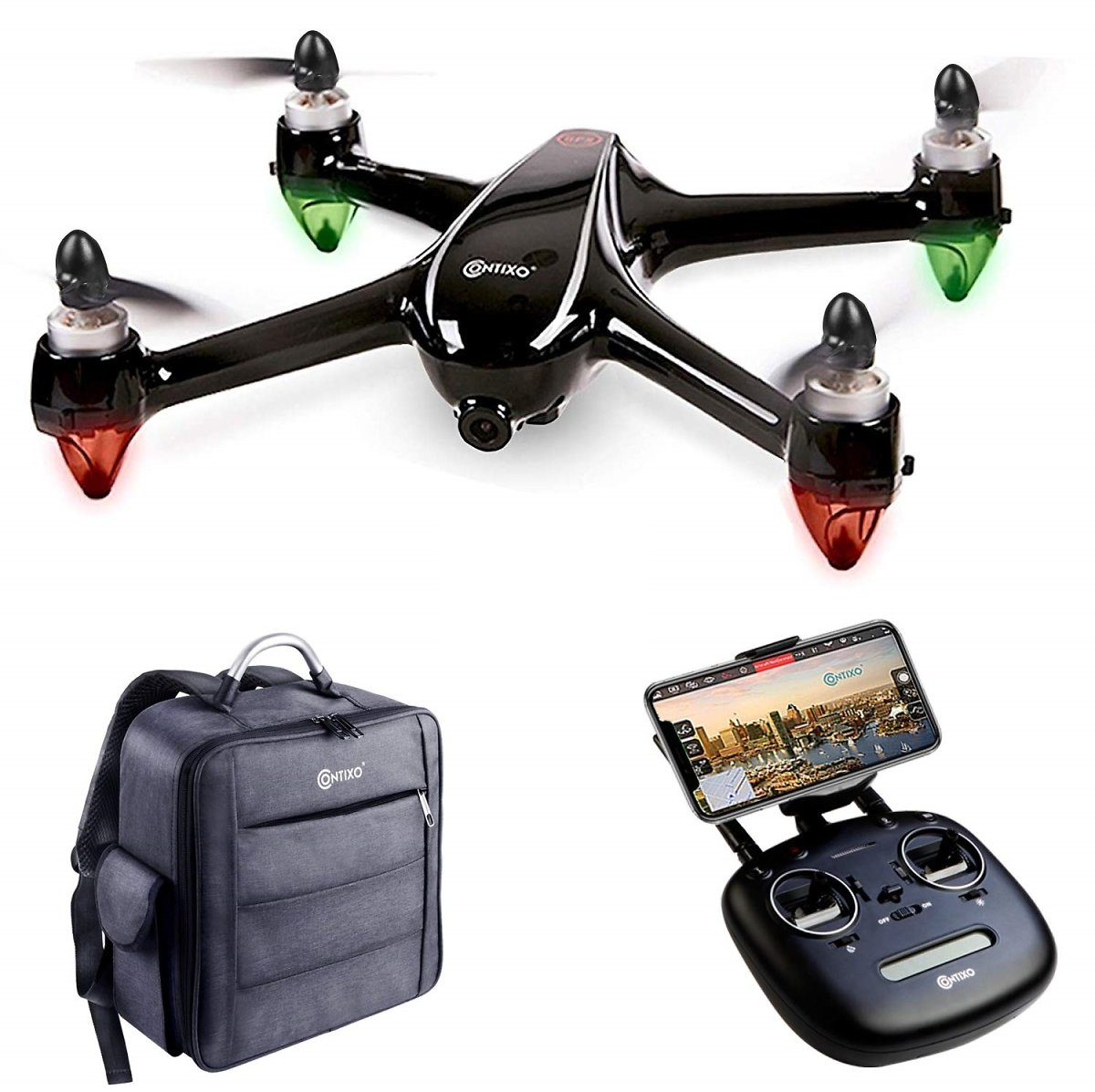 Conixo F18 Drone with 2K HD WiFi Camera Live Video Streaming Altitude Hold GPS FPV Brushless Motors RTH for Beginners Adults Plus Backpack Storage Drone Case