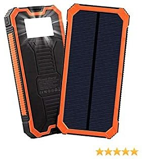 Gootu Solar Charger, 15000mAh Portable Solar Power Bank with Dual USB Ports, Solar External Battery Pack Phone Charger with 6 LED Flashlight Light for IPhone, IPad, and 5V Digital Equipment and More