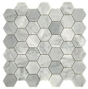 Daltile Restore Mist Honed 12 In. X 12 In. X 8mm Marble Mosaic Floor and Wall Tile (0.97 Sq. Ft./ Piece)-ST832HEXCCMS1U