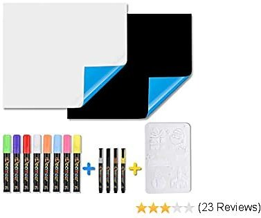 Magnetic Whiteboard Blackboard for Refrigerator, Self-adhesive for Smooth Surface, 17.7