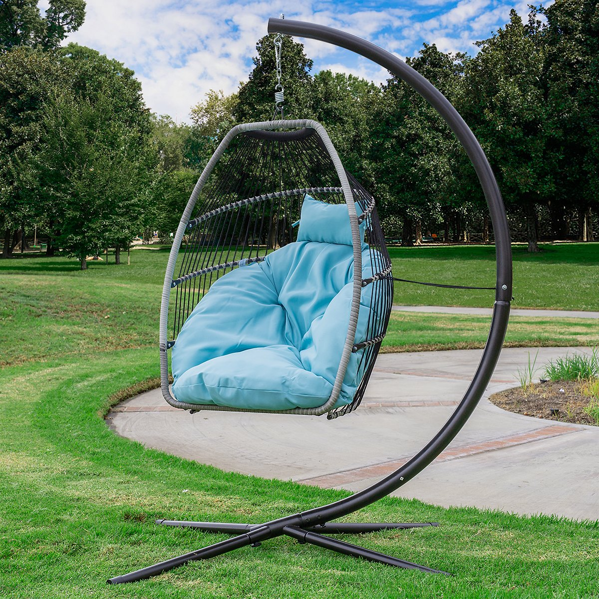 Barton Premium Hanging Egg Swing Chair Cushion Patio Seating