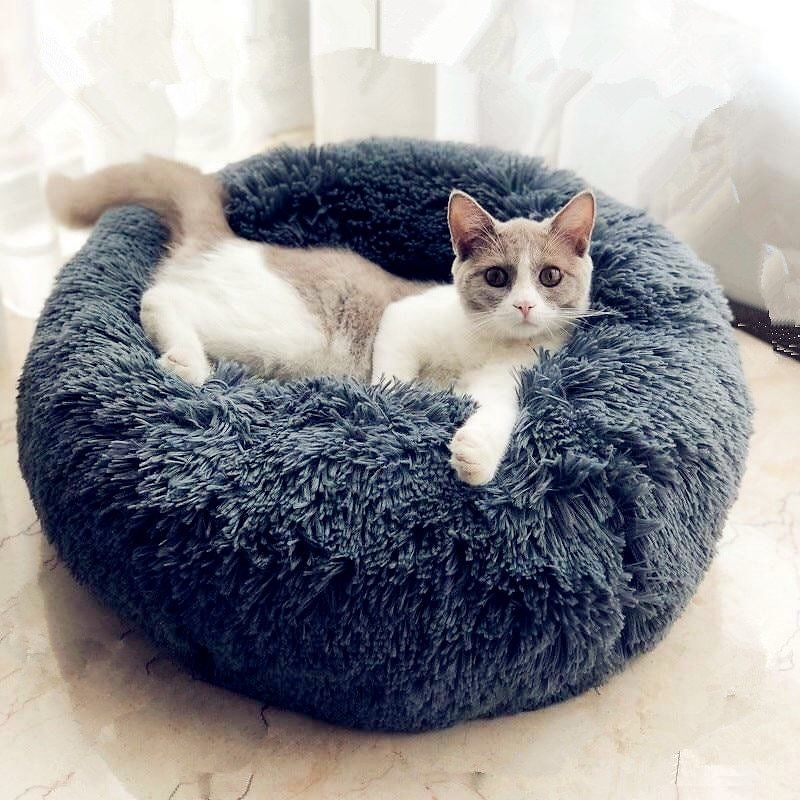 30% OFF - Round Cat Bed House Soft Long Plush