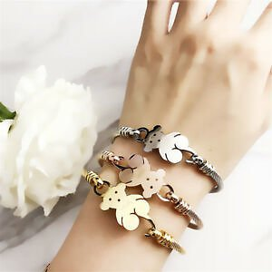 Fashion Women's Stainless Steel Teddy Bear Bracelet Bangle Gift