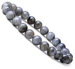 Natural 8mm Larvikite Labradorite Gemstones Healing Stretch Beaded Bracelet