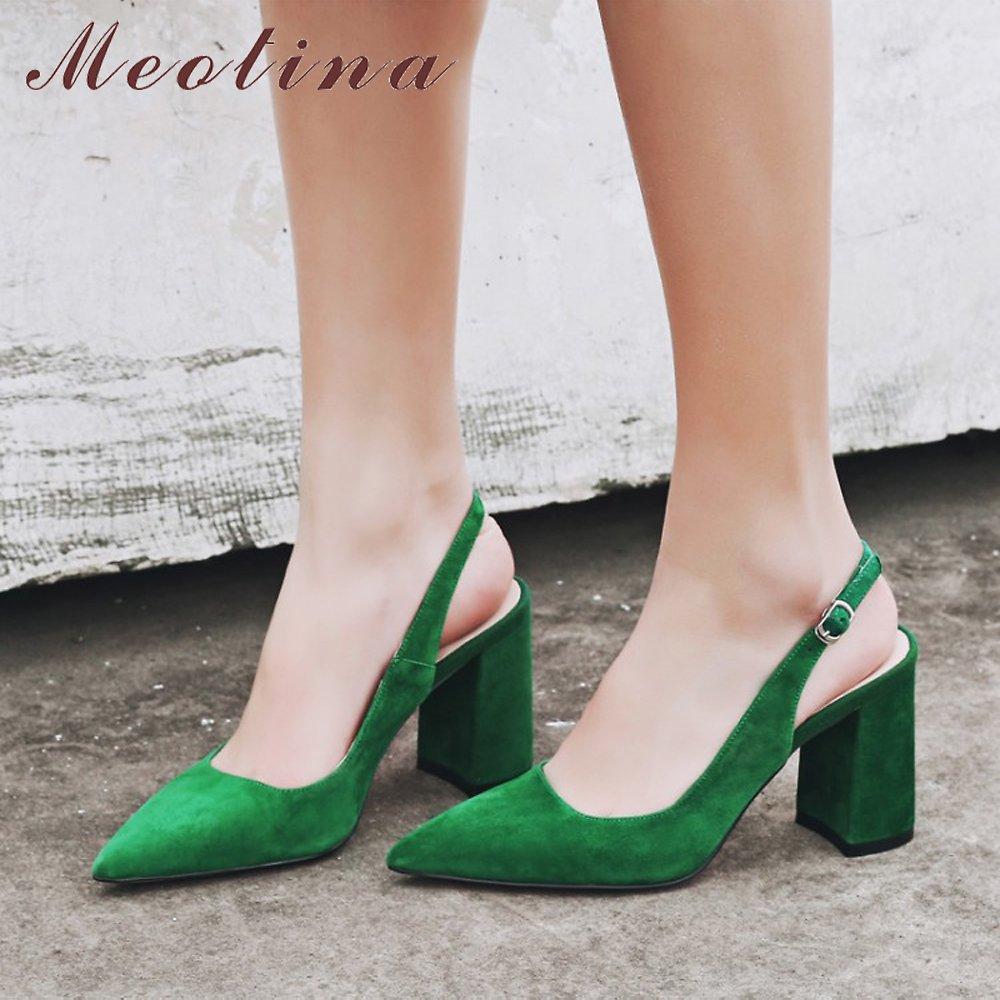 Meotina Women Shoes Kid Suede High Heels Pointed Toe Slingbacks Thick High Heel Pumps Autumn Lady Party Heels Green Beige 34-42