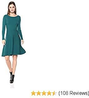 Amazon Brand - Lark & Ro Women's Long Sleeve Ribbed Crewneck Fit and Flare Sweater Dress