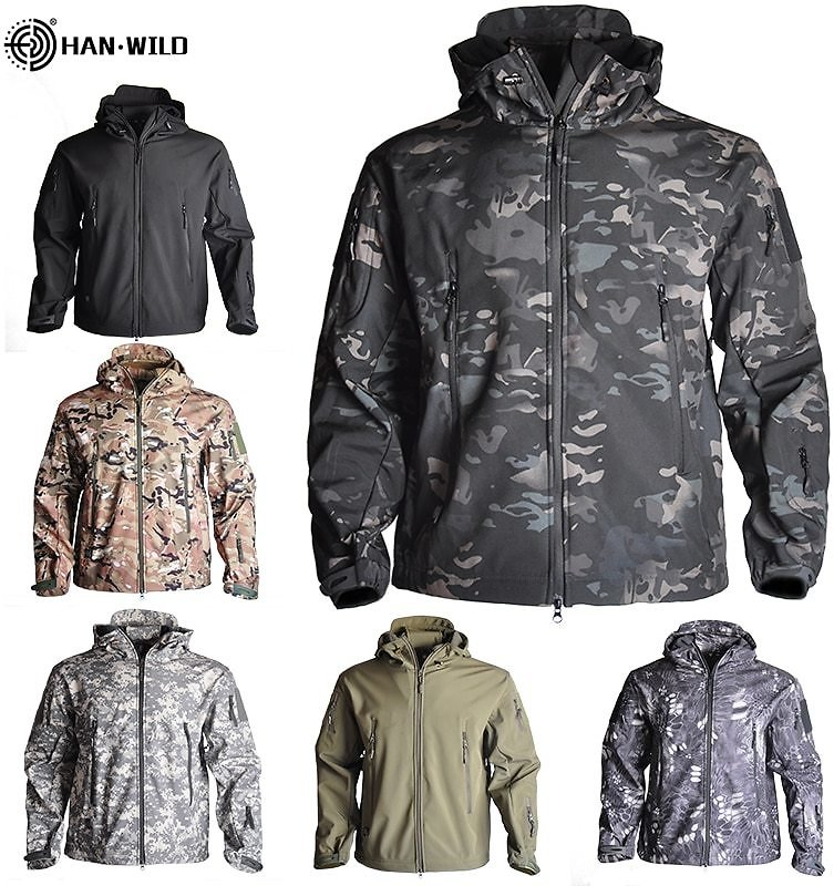 HAN WILD Army Camouflage Airsoft Jacket Men Military Tactical Jacket Winter Waterproof Softshell Jacket Windbreaker Hunt Clothes
