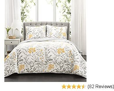 Lush Decor Yellow Aprile Reversible Quilt 3 Piece Floral Leaf Design Bedding Set-Full Queen Gray