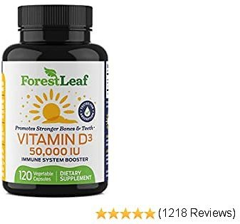 Vitamin D3 50,000 IU Weekly Supplement - 120 Vegetable Capsules - Helps Boost and Strengthen Bones, Teeth, Immune System and Muscle Function