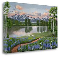 Tangletown Fine Art Lupine Trail Tetons By Julie Peterson Giclee Print On Gallery Wrap Canvas, 47