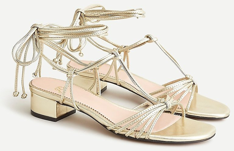 Florence Lace-up T-strap Sandals in Metallic Gold Leather