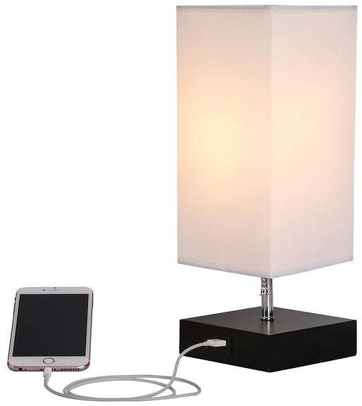 CO-Z 13.5-inch Table Lamp with Solid Wood Base and USB Port - White