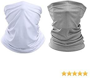 UV Dust Protection Breathable Face Cover,Resuable Multi-Purpose Neck Gaiter Mask,Headwear for Fishing Hiking Cycling Scarf Outdoor Sport Bandana,Unisex Headband Face Mask[2 Pack] White