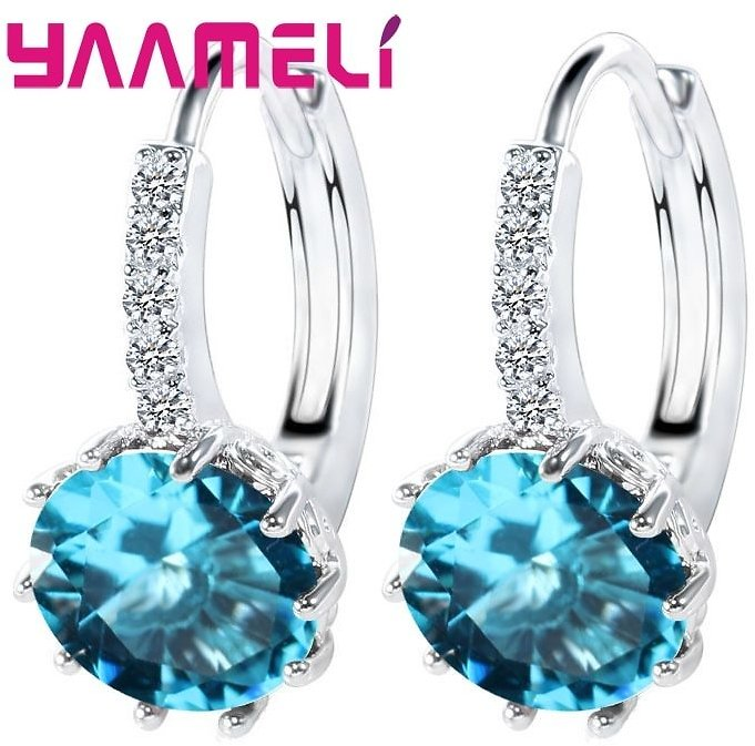 US $1.7 95% OFF|Big Sale 925 Sterling Silver Loop Hoop Earrings Candy Color Cubic Zircon Charms Women Jewelry Wedding Accessory Brincos|sterling Silver Hoop Earrings|silver Hoop Earringsdrop Hoop Earrings - AliExpress