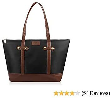 ZoneFoker Tote for Women Leather Nylon Shoulder Bag Women's Oxford Large Capacity Work Fit 15.6 Inch