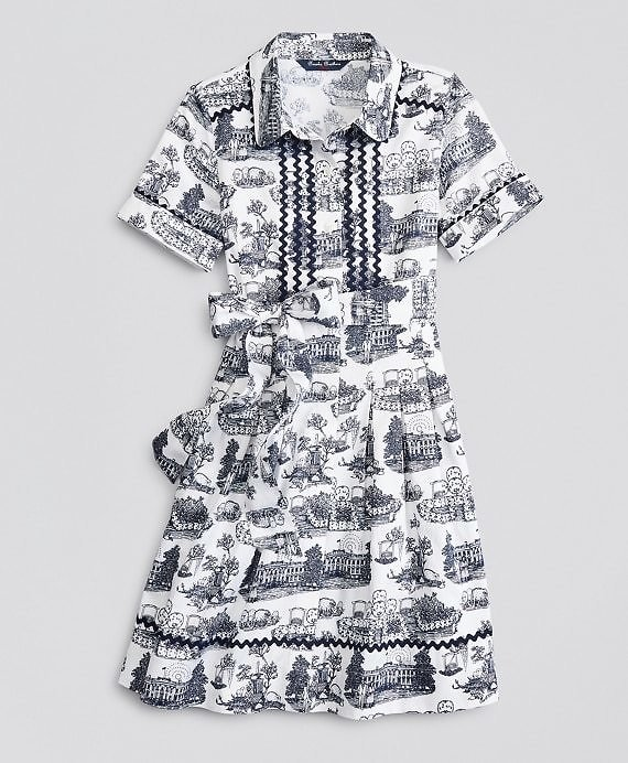 Girls Supima® Cotton Toile Printed Shirt Dress - Brooks Brothers