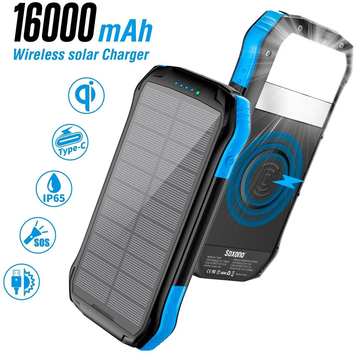 16000mAh Solar Charger with 2-USB Port Ultra Portable Phone Charger Power Bank External Battery Pack with 15 LEDs Flashlight