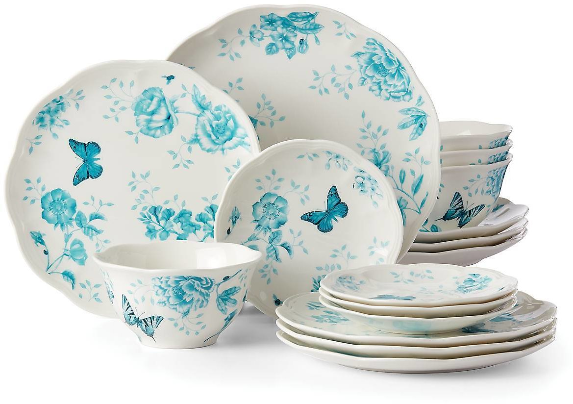 Butterfly Meadow Toile Turquoise 16-pc Set