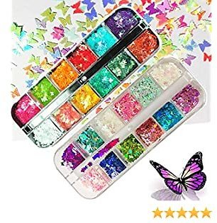 24 Color 3D Butterfly Nail Art Glitter Sequins - Splarkly Laser Butterfly Nail Flakes Acrylic Paillettes, Holographic Nail Sparkle Glitter Decals Sticker Tips for Nail Art Decoration Supplies (24P)
