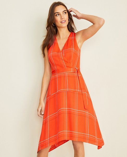 Plaid Belted Flare Dress | Ann Taylor