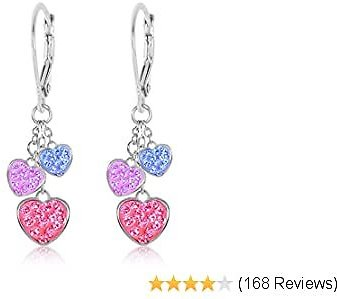 Kids Earrings - White Gold Tone Hearts Pink Crystal Earrings with Silver Leverbacks Baby, Girls, Children