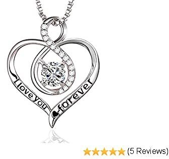 Klurent 925 Sterling Silver Heart Necklaces for Women Girl Gift 5A Cubic Zirconia Infinity Love Pendant Necklace Gift for Girlfriend Birthday, Mothers Day Jewelry Gifts for Women Hollow Heart Necklaces Wife Anniversary