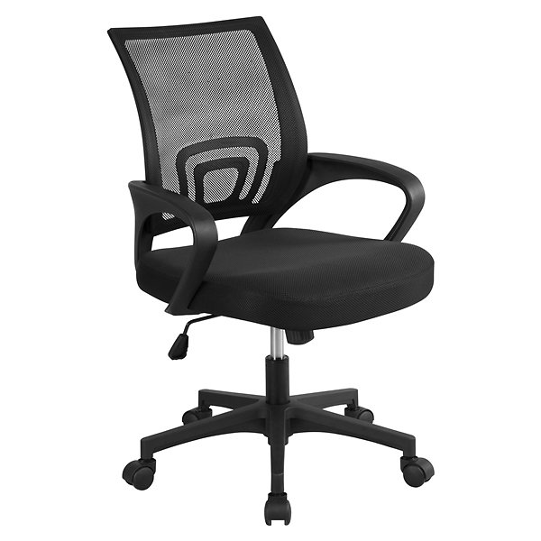 Topeakmart Mid-Back Height Adjustable Ergonomic Mesh Office Chair Computer Chair with 360°Rolling Casters Black