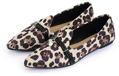 Leopard Pattern Lock Decorated Pointed Toe Flats - US$11.99 -YOINS