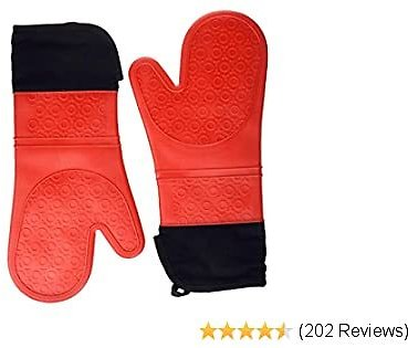 Elbee Home Professional Extra Long Silicone Oven Mitts Set, Durable and Heat Resistant, Soft Quilted Interior for Maximum Comfort, Include Pot Holder Pad, Red