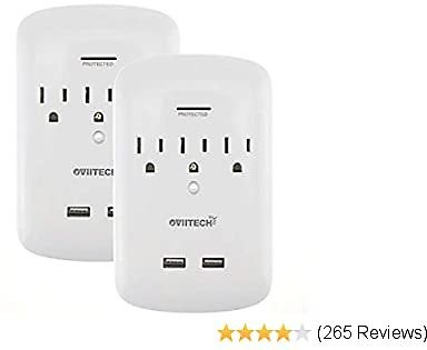 Surge Protector USB Wall Mount Outlet and Dual 2.4A USB Charging Ports,OviiTech Socket Plug Splitter Adapter