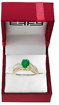 Brasilica Diamond, Natural Emerald and 14K Gold Ring