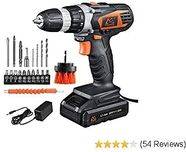 35% OFF 20V MAX Lithium Ion Cordless Drill, Power Drill Set with 3/8 Inches Keyless Chuck, Variable Speed