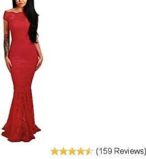 60% OFF Womens Sexy Off Shoulder Bardot Lace Evening Party Bodycon Fishtail Maxi Dress