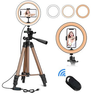 Controllable 6 Inch 10 Inch LED Selfie Ring Light + Tripod Stand + Phone Holder Photography YouTube Video Makeup Live Stream with Remote Shutter for IPhone Android Smart PhonesMobile Phone AccessoriesfromPhones & Telecommunications&n