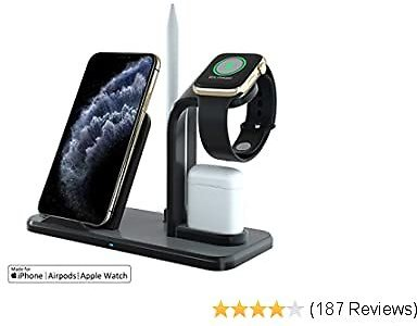 GOSETH Wireless Charger 3 in 1 Charging Holder Compatible with Apple Watch Series 5 4 3 2 1&AirPods,10W Qi Wireless Charging for